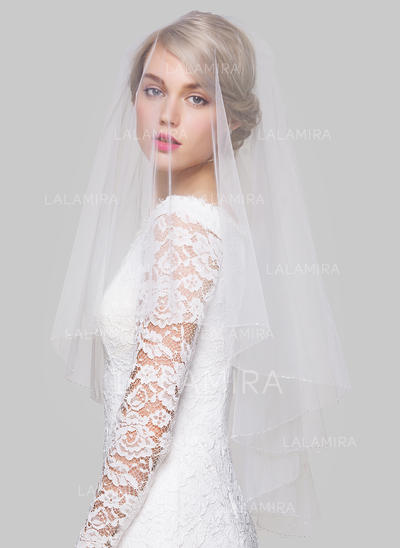 Fingertip Bridal Veils Tulle Two-tier Classic With Beaded Edge Wedding Veils (006151837)