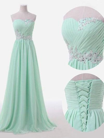 A-Line/Princess Chiffon Bridesmaid Dresses Ruffle Sweetheart Sleeveless Floor-Length (007211576)