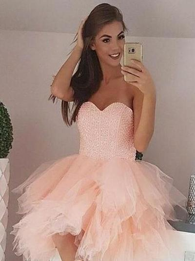 Beading Amada Tule De baile Vestidos de boas vindas (022219399)