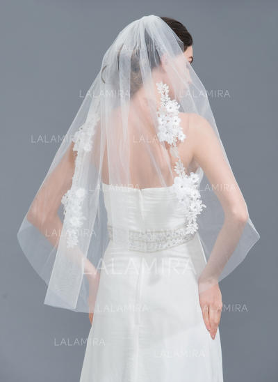 Fingertip Bridal Veils Tulle One-tier Classic With Cut Edge Wedding Veils (006152235)