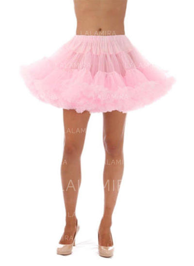 Bustle Short-length Tulle Netting/Satin Short Flare Slip 1 Tiers Petticoats (037190851)