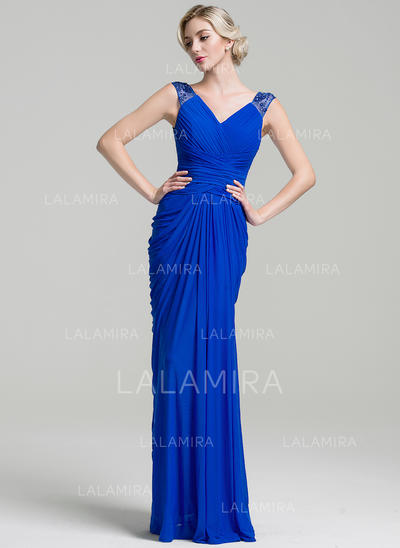 Trumpet/Mermaid Jersey Sleeveless V-neck Floor-Length Zipper Up Mother of the Bride Dresses (008091958)