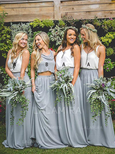Ruffle V-neck With Flattering Chiffon Bridesmaid Dresses (007211583)