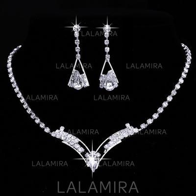 Jewelry Sets Alloy/Rhinestones Lobster Clasp Pierced Ladies' Wedding & Party Jewelry (011166690)