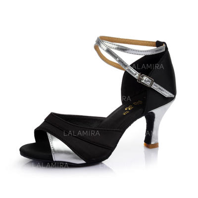 Women's Latin Heels Sandals Satin Leatherette With Ankle Strap Dance Shoes (053178402)