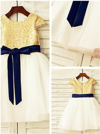 Scoop Neck Ball Gown Flower Girl Dresses Tulle Sash/Sequins Short Sleeves Tea-length (010211769)