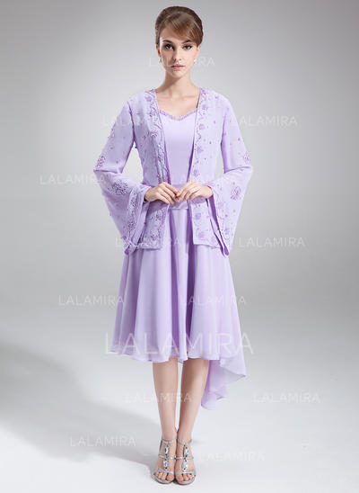 Moderno Asimétrico Corte A/Princesa Gasa Vestidos de madrina (008211190)