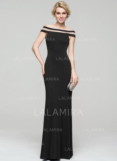 Sheath/Column Off-the-Shoulder Floor-Length Jersey Evening Dress (017086894)