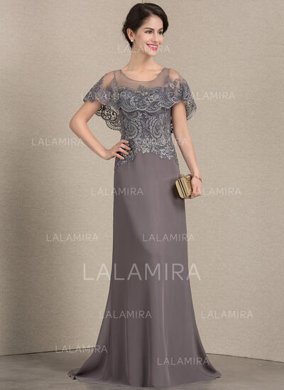 A-Line/Princess Scoop Neck Sweep Train Chiffon Lace Evening Dress (017164949)