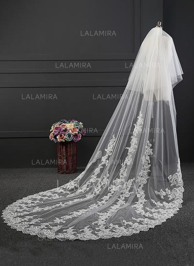 Cathedral Bridal Veils Tulle One-tier Oval With Lace Applique Edge Wedding Veils (006152174)