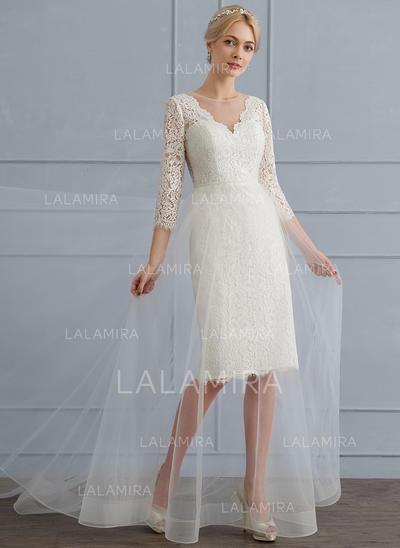 Tulle Dentelle Forme Princesse avec Renversant Standard Grande taille Robes de mariée (002124285)