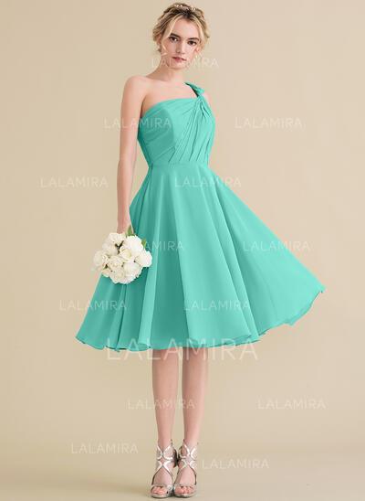 A-Line/Princess One-Shoulder Knee-Length Chiffon Bridesmaid Dress With Ruffle (007144766)
