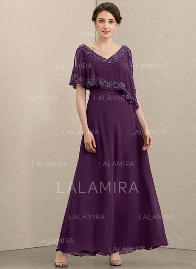 Corte A Decote V Longuete Tecido de seda Vestido de festa com Beading lantejoulas (017208801)