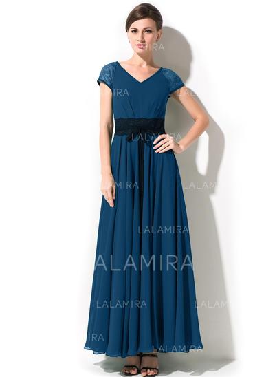Corte A/Princesa Gasa Manga corta Escote en V Hasta el tobillo Cremallera lateral Vestidos de madrina (008042825)