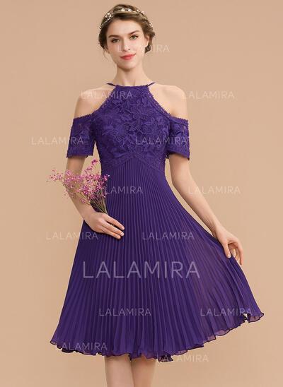 Corte A Decote redondo Coquetel Tecido de seda Renda Vestido de madrinha com Plissada (007165864)