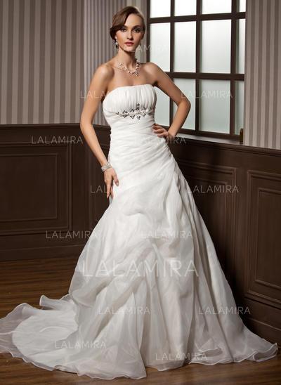 Newest Strapless A-Line/Princess Wedding Dresses Chapel Train Satin Organza Sleeveless (002196862)