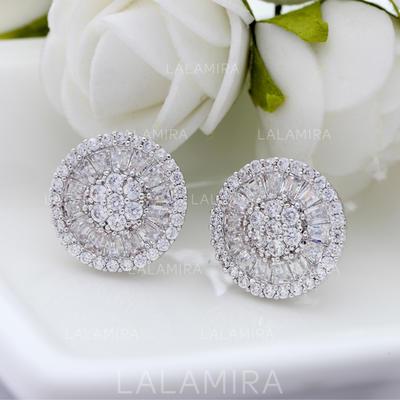 Earrings Copper/Zircon/Platinum Plated Pierced Ladies' Shining Wedding & Party Jewelry (011166680)