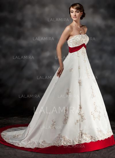 Sweetheart Ball-Gown Wedding Dresses Satin Sash Beading Appliques Sleeveless Court Train (002213307)