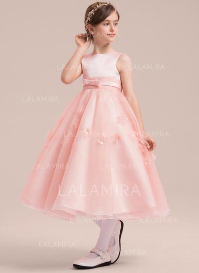 A-Line/Princess Tea-length Flower Girl Dress - Satin/Tulle Sleeveless Scoop Neck With Beading/Flower(s) (010143263)