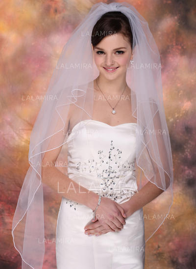 Fingertip Bridal Veils Tulle Two-tier Classic With Pencil Edge Wedding Veils (006150860)