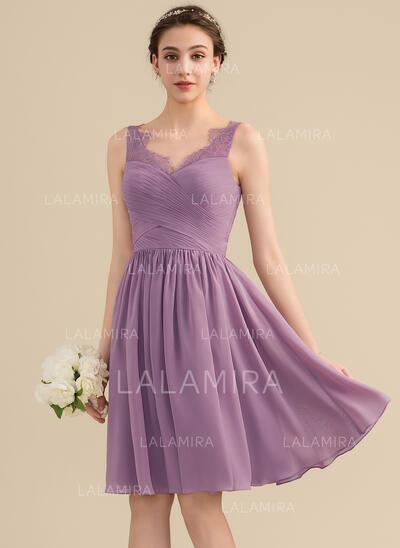 Vestidos princesa/ Formato A Decote V Coquetel Tecido de seda Renda Vestido de madrinha com Pregueado (007153359)