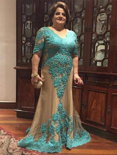 Forme Princesse Col V Tulle Le plus récent Robes mère de la mariée (008212806)