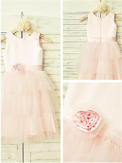Scoop Neck A-Line/Princess Flower Girl Dresses Satin/Tulle Flower(s) Sleeveless Tea-length (010211944)