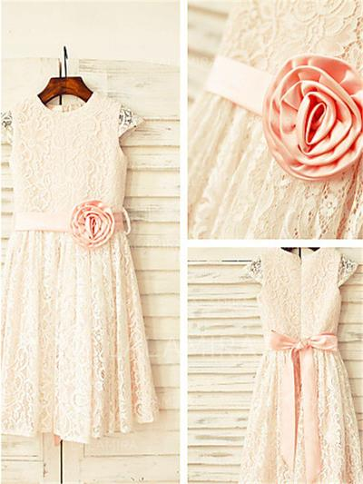Scoop Neck A-Line/Princess Flower Girl Dresses Lace Flower(s) Sleeveless Tea-length (010212019)