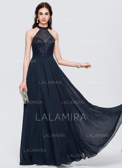 A-Line/Princess Scoop Neck Floor-Length Chiffon Evening Dress With Sequins (017164977)