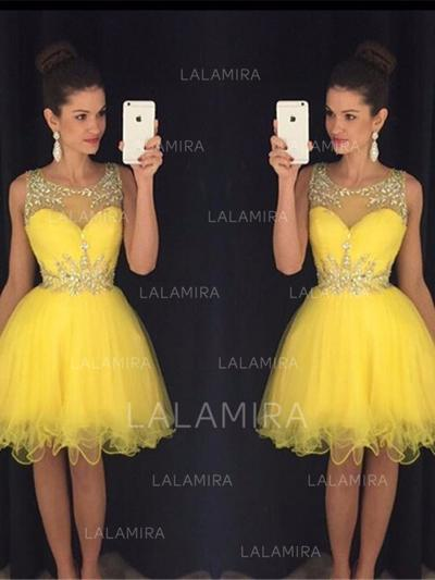 A-Line/Princess Plus Tulle Scoop Neck Homecoming Dresses (022212251)