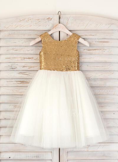 A-Line/Princess Tea-length Flower Girl Dress - Tulle/Sequined Sleeveless Scoop Neck (010091395)