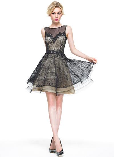 A-Line/Princess Scoop Neck Knee-Length Lace Cocktail Dress (016081111)