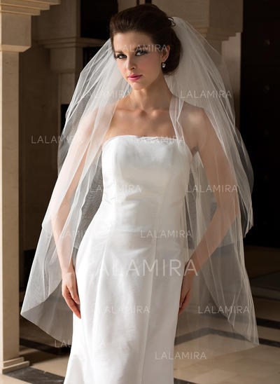 Fingertip Bridal Veils Tulle Three-tier Classic With Cut Edge Wedding Veils (006151508)