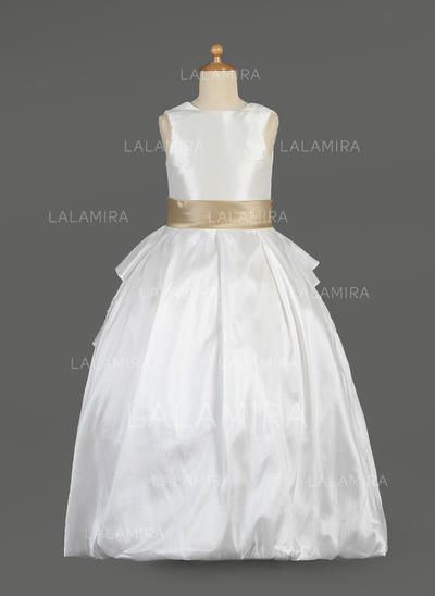 Flattering Scoop Neck Ball Gown Taffeta/Lace Flower Girl Dresses (010014634)