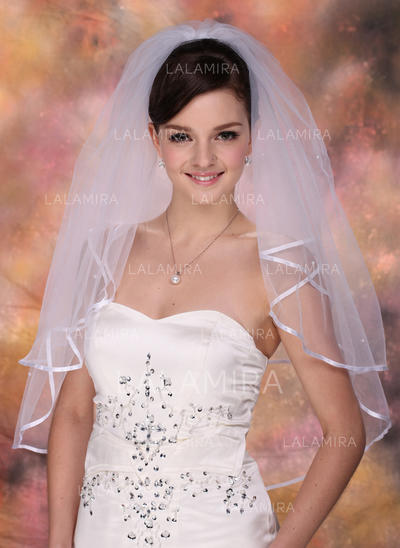 Codo velos nupciales Tul Dos capas Estilo clásico/Cascada con Con lazo Velos de novia (006005419)