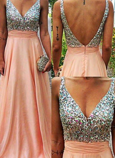 A-Line/Princess Sweep Train Prom Dresses V-neck Chiffon Sleeveless (018145616)
