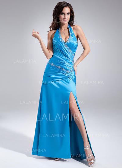 A-Line/Princess Halter Floor-Length Prom Dresses With Ruffle Beading Split Front (018213016)