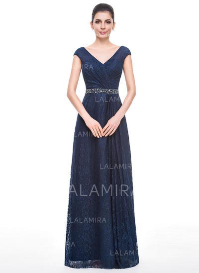 Corte A/Princesa Encaje Sin mangas Escote en V Hasta el suelo Cremallera Vestidos de madrina (008058414)