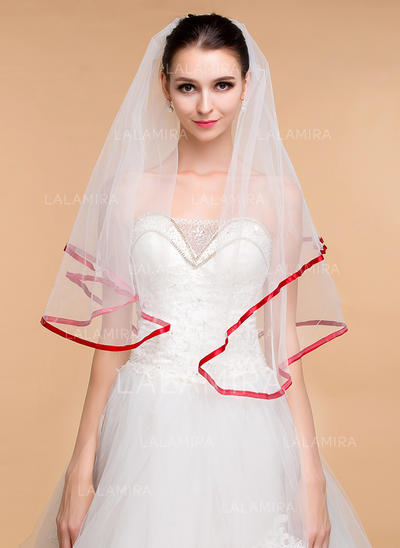 Elbow Bridal Veils Tulle One-tier Classic With Ribbon Edge Wedding Veils (006152011)