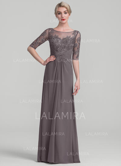 A-Line/Princess Scoop Neck Floor-Length Chiffon Lace Evening Dress With Ruffle Beading Sequins (017131505)