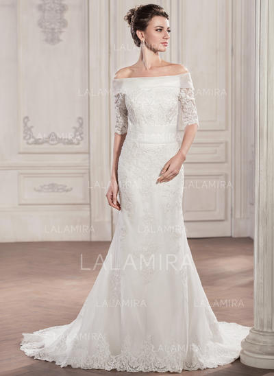 Sleeves Off-The-Shoulder With Tulle Lace Wedding Dresses (002210599)
