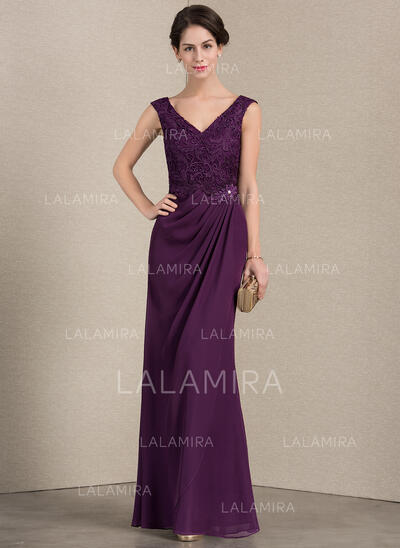 A-Line/Princess V-neck Floor-Length Chiffon Lace Mother of the Bride Dress With Ruffle Beading (008143391)