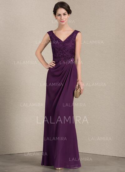 Vestidos princesa/ Formato A Decote V Longos Tecido de seda Renda Vestido para a mãe da noiva com Pregueado Beading (008143391)