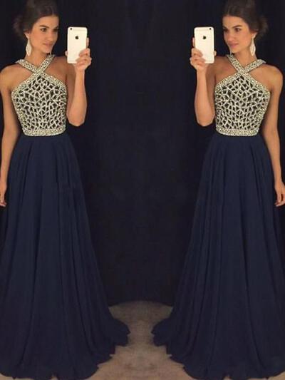 Newest Chiffon A-Line/Princess Evening Dresses Sleeveless Floor-Length (017196697)