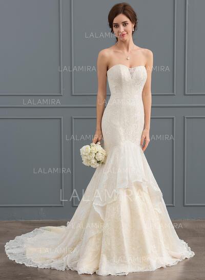 Trompete/Sereia Amada Cauda de sereia Renda Vestido de noiva (002127271)
