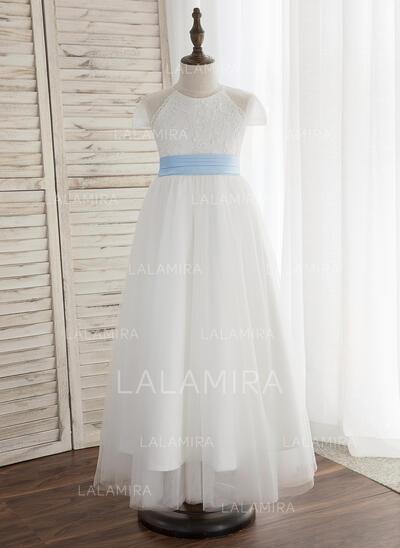 Forme Princesse Longueur cheville Robes à Fleurs pour Filles - Tulle/Dentelle Sans manches Col rond avec Plissée (bande détachable) (010148834)