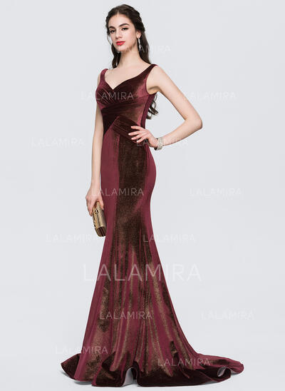 Trumpet/Mermaid V-neck Sweep Train Velvet Prom Dresses With Ruffle (018146383)