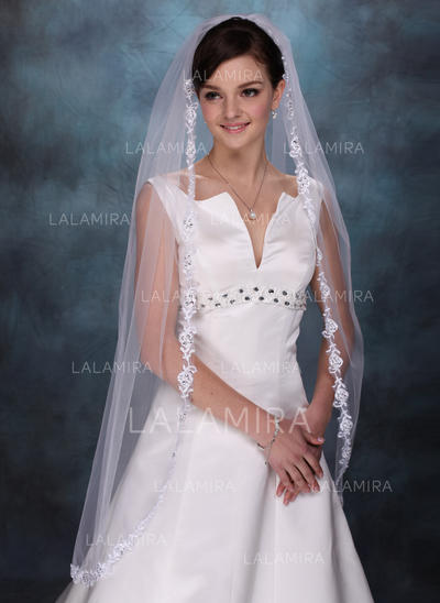 Waltz Bridal Veils Tulle One-tier Drop Veil/Mantilla With Lace Applique Edge Wedding Veils (006150816)