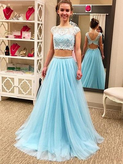 A-Line/Princess Sweep Train Prom Dresses Scoop Neck Tulle Sleeveless (018145903)