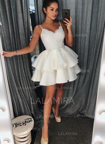 A-Line/Princess V-neck Short/Mini Homecoming Dresses With Ruffle Lace (022216263)